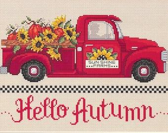 Counted Cross Stitch Pattern, Hello Autumn, Fall Decor, Autumn, Sunflowers, Primitive Decor, Farmstead, Sue Hillis Designs, PATTERN ONLY