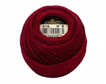 DMC Perle Cotton, Size 8, DMC 815, Pearl Cotton, Medium Garnet, Embroidery Thread, Embroidery Thread, Punch Needle, Penny Rugs, Applique