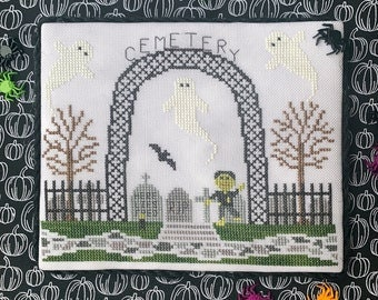 Counted Cross Stitch, Cemetery, Spooky Hollow Series, Halloween Decor, Goblin, Bats, Ghosts, Cottage Chic, Little Stitch Girl, PATTERN ONLY