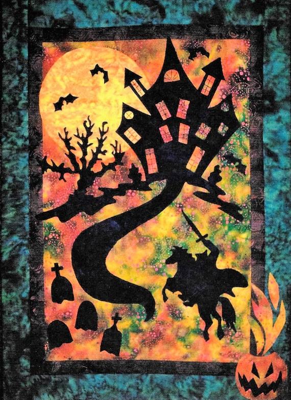 Quilt Pattern, Haunting Hoofbeats, Halloween Decor, Headless Horseman,  Haunted Mansion, Applique Quilt, Dandelion Seed Design, PATTERN ONLY