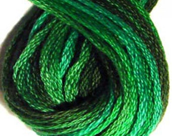 Valdani, 6 Strand Cotton Floss, M79, Explosions in Greens, Embroidery Floss, Punch Needle, Embroidery, Penny Rugs, Sewing Accessory