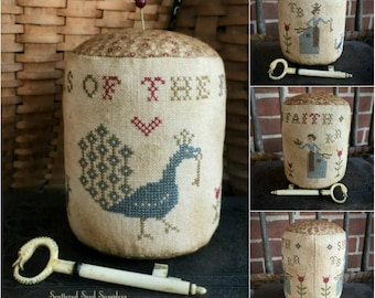 Counted Cross Stitch Pattern, Sisters of the Faith, Pinkeep Drum, Primitive Decor, Pin Keep, Scattered Seed Samplers, PATTERN ONLY