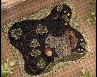 Punch Needle Pattern, Nutty Buddy, Squirrel, Fall Decor, Acorn, Country Decor, Punch Needle Patterns, Little House Needleworks, PATTERN ONLY