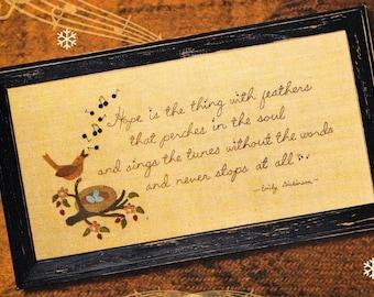 Wool Applique Pattern, Emily's Hope, Wool Applique Stitchery, Spring Decor, Primitive Decor, Framed Poem Verse, Nutmeg Hare, PATTERN ONLY