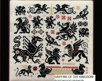 Counted Cross Stitch Pattern, Griffins of the Kingdom, Alphabet Sampler, Griffin Book Marks, Rosewood Manor, PATTERN ONLY