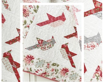 Quilt Pattern, Cardinals, Winter Decor, Cottage Decor, Patchwork Quilt, Quilted Wall Hanging, Lap Quilt, The Pattern Basket, PATTERN ONLY