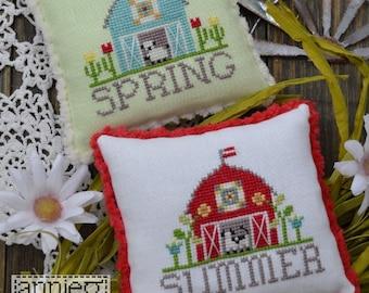 Counted Cross Stitch, Bitty Barns, Spring Decor, Barns, Farmhouse Decor, Folk Art, Flowers, Annie Beez Folk Art, PATTERN ONLY