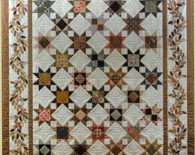 Featured listing image: Quilt Pattern, Civil War Star, Pieced Star Quilt, Applique Vine Border, Wall Quilt, Bed Quilt, Reproduction, Bits 'n Pieces, PATTERN ONLY