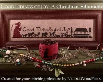 Counted Cross Stitch, Good Tidings of Joy, Vintage Silhouette Reproduction, Christmas Decor, Noah's Ark, Needle Work Press