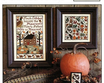 Counted Cross Stitch, October, Rustic Country, Autumn, Pheasants, Crows, Squirrels, Pumpkins, Acorns, The Prairie Schooler, PATTERN ONLY