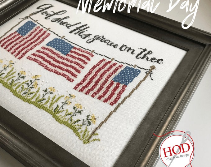 Featured listing image: Cross Stitch Pattern, Memorial Day, Patriotic Decor, Americana, American Flags, Inspirational, Religious, Hands On Design, PATTERN ONLY