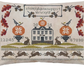 Counted Cross Stitch Pattern, Autumn At Bunny Hill Manor, Sampler, Quaker Decor, Leaves, Bunnies, Acorns, Artful Offerings, PATTERN ONLY