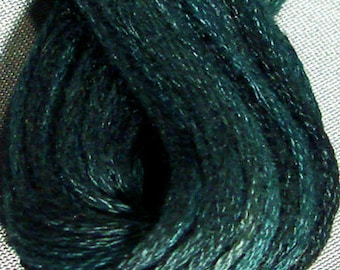 Valdani, 6 Strand Cotton Floss, H203, Blackened Teal, Embroidery Floss, Punch Needle, Embroidery, Penny Rugs, Sewing Accessory