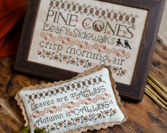 Counted Cross Stitch Pattern, Leafy Sidewalks, Fall Decor, Autumn Motifs, Fall Sampler, Bowl Filler, Erica Michaels, PATTERN Only