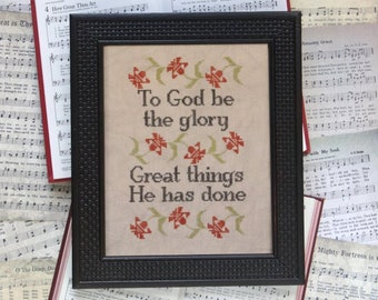 Counted Cross Stitch Pattern, Sunday Stitches, To God Be the Glory, Inspirational, Beth Twist, Heartstring Samplery, PATTERN ONLY