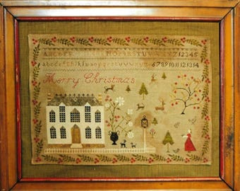 Counted Cross Stitch Pattern, Christmas at Hollyberry Farm, Colonial Style Needlework, Primitive Cross Stitch, Stacy Nash, PATTERN ONLY