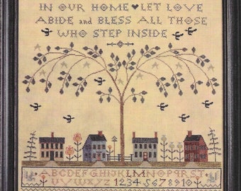 Cross Stitch Pattern, Love Abide, Cross Stitch Sampler, Welcome Sampler, Saltbox House, Colonial Home, Verse, Willow, La-D-Da, PATTERN ONLY