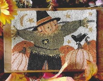 Punch Needle Pattern, Happy Scarecrow, Scarecrow, Pumpkins, Fall Decor, Halloween Decor, Teresa Kogut, Punch Needle Embroidery, PATTERN ONLY