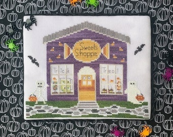 Counted Cross Stitch, Sweets Shoppe, Spooky Hollow Series, Halloween Decor, Treats, Ghost, Cottage Chic, Little Stitch Girl, PATTERN ONLY