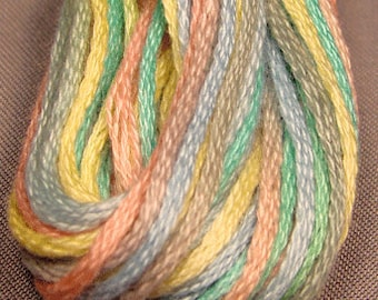 Valdani, 6 Strand Cotton Floss, M38, Baby Soft Pastel, Embroidery Floss, Variegated Floss, Hand Dyed Floss, Wool Applique, Punch Needle