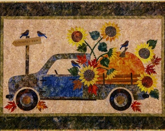 Quilt Pattern, Country Fair, Pumpkin, Sunflowers, Pick Up Truck, Raw Edge Applique, Laundry Basket Quilts, Edyta Sitar, PATTERN ONLY