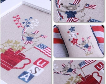 Counted Cross Stitch Pattern, Freedom, Americana, Patriotic, Independence Day, American Flag, Mouse, Stars, Madame Chantilly, PATTERN ONLY
