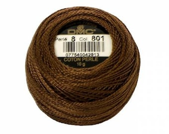 DMC Perle Cotton, Size 8, DMC 801, Pearl Cotton, Dark Coffee Brown, Embroidery Thread, Embroidery Thread, Punch Needle, Penny Rugs, Applique
