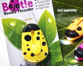 Needle Beetle, Needle Threader, Lighted Needle Threader, LED Light, Sewing Accessory, Yellow Threader, Pink Threader, Orange Threader