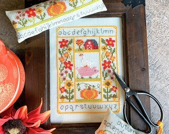 Counted Cross Stitch Pattern, Rustic Autumn Set, Autumn Sampler, Scissor Fob, Pin Cushion, Barn, Goose, Pig, Tiny Modernist, PATTERN ONLY