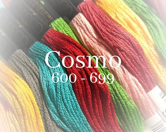 Cosmo, 600 - 699, 6 Strand Cotton Floss, Size 25, Embroidery Floss, Cross Stitch Floss, Punch Needle, Embroidery, Wool Applique, Quilting