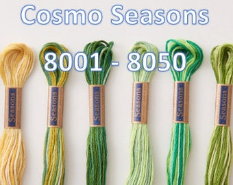 Cosmo, SE80-8001 - 8050, Seasons Embroidery Thread, 6 Strand Cotton Floss,Punch Needle, Penny Rugs, Primitive Stitching, Sewing Accessory
