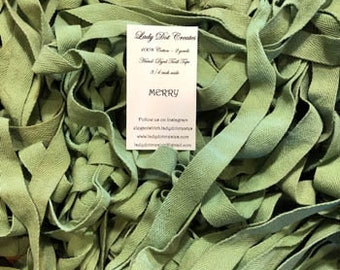 """Twill Tape, Merry, Lady Dot Creates, 3/4"""" Twill Tape, Hand Dyed Twill, Cotton Twill, Sewing Notion, Sewing Accessory, Sewing Trim"""
