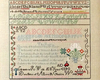 Cross Stitch Pattern, Clemonteen Welch, Cross Stitch Sampler, Antique Reproduction, Logan County, Queenstown Sampler Designs, PATTERN ONLY