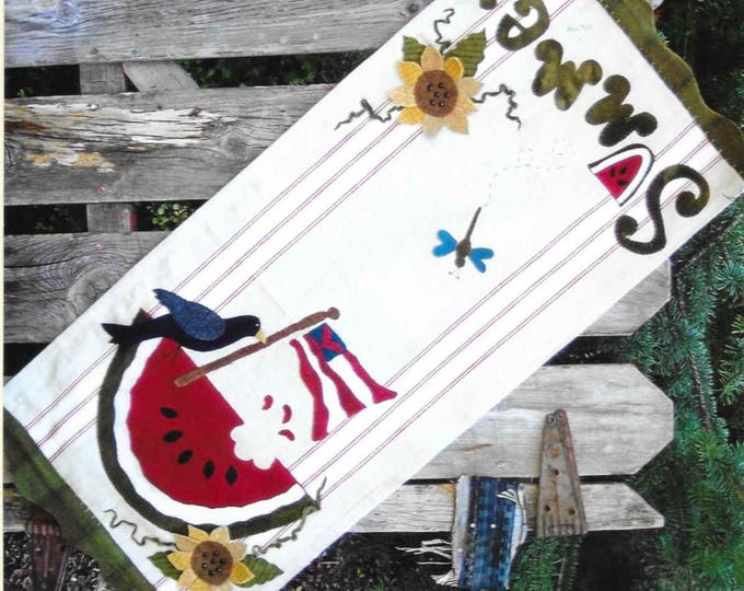 Featured listing image: Wool Applique Pattern, Lazy Days of Summer, Wool Table Runner, Summer Decor, Patriotic, Americana, As the Crow Flies, PATTERN ONLY