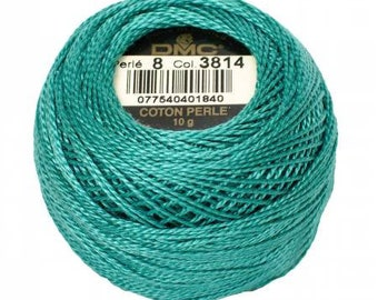 DMC Perle Cotton, Size 8, DMC 3814, Aquamarine, Pearl Cotton Ball, Embroidery Thread, Punch Needle, Embroidery, Penny Rugs, Wool Applique