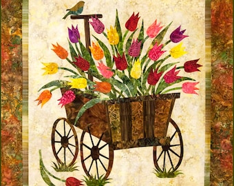 Quilt Pattern, Spring Wagon, Floral Quilt, Raw Edge Applique, Tulips, Wall Hanging, Laundry Basket Quilts, Edyta Sitar, PATTERN ONLY