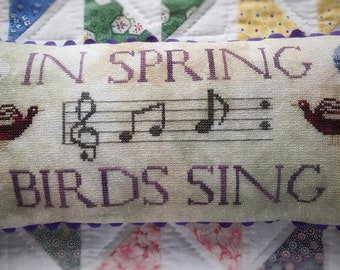 Counted Cross Stitch Pattern, Birds Sing, Spring Decor, Musical Notes, Primitive, Lucy Beam, Love in Stitches, Rebecca Noland, PATTERN ONLY