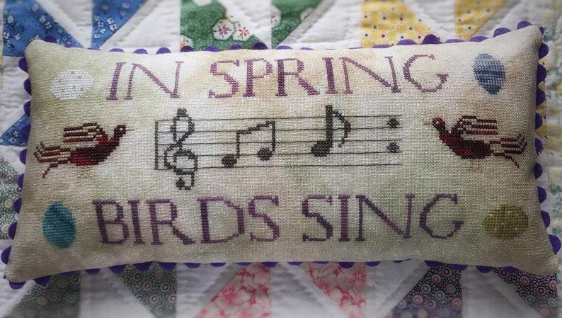 Musical Notes PATTERN ONLY Spring Decor Counted Cross Stitch Pattern Primitive Love in Stitches Lucy Beam Rebecca Noland Birds Sing