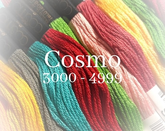 Cosmo, 3000 - 4999, 6 Strand Cotton Floss, Size 25, Embroidery Floss, Cross Stitch Floss, Punch Needle, Embroidery, Wool Applique, Quilting