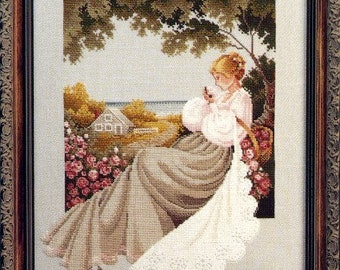 Counted Cross Stitch Pattern, Nantucket Rose, Cottage Chic, Nantucket Sea, Seaside Cottage, Roses, Vintage, Lavender & Lace, PATTERN ONLY