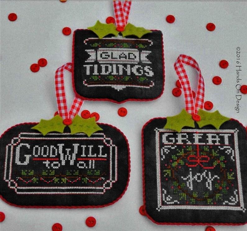 Counted Cross Stitch Pattern Chalkboard Ornaments Christmas image 0