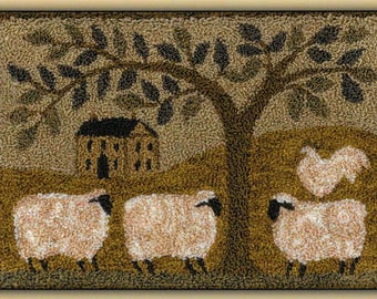 Punch Needle Pattern, Wooly Estate, Primitive Decor, Farmhouse Decor, Sheep, Willow, Teresa Kogut, Punch Needle Embroidery, PATTERN ONLY