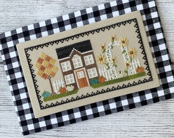 Counted Cross Stitch, Harvest House, Autumn Decor, Sunflowers, Pumpkins, Fall Leaves, Cottage Chic, Little Stitch Girl, PATTERN ONLY