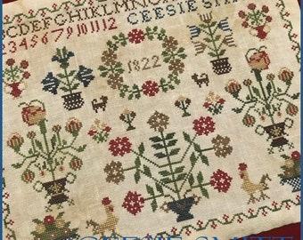Counted Cross Stitch Pattern, Ceesie Smitt 1822, Reproduction Sampler, Dutch Sampler, Primitive Decor, The Scarlett House, PATTERN ONLY
