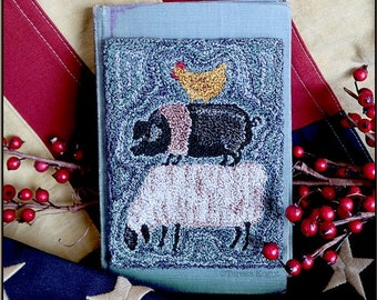 Punch Needle Pattern, Blue Ribbon, Farmhouse Decor, Sheep, Pig, Chicken, Country Rustic, Teresa Kogut, Punch Needle Embroidery, PATTERN ONLY