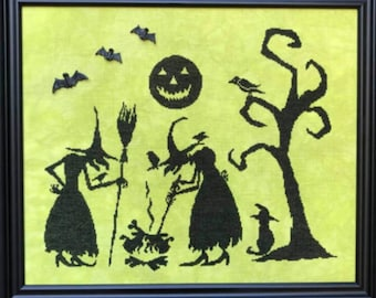 Counted Cross Stitch Pattern, Witches Brew, Halloween Decor, Jack O lantern, Black Cat, Witches, Crow, Cauldron, Keslyn's, PATTERN ONLY