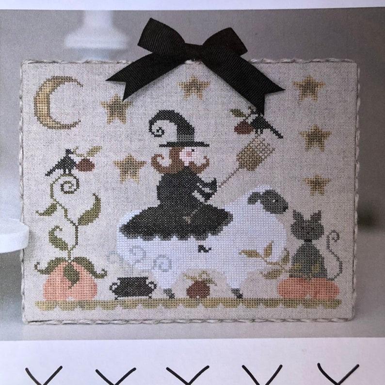 Halloween Folk Art Three Little Witches Cross Stitch Pattern