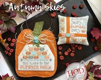 Cross Stitch Pattern, Autumn Skies, Fall Decor, Autumn Decor, Pumpkins, Primitive Pillow Ornament, Hands on Design, PATTERN ONLY