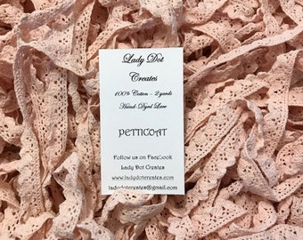 Cotton Lace Trim, Petticoat, Lady Dot Creates, Hand Dyed Lace, Cotton Lace, Brown Lace, Sewing Notion, Sewing Accessory, Sewing Trim