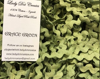Rick Rack Trim, Grace Green, Lady Dot Creates, Hand Dyed Rick Rack, Cotton Rick Rack Trim, Sewing Notion, Sewing Accessory, Sewing Trim